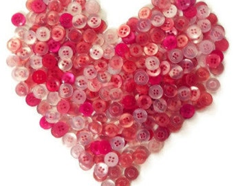 200 Small Buttons in Assorted Reds and Pinks - Red, Light Pink, Baby Pink, Medium Pink, Dark Pink, Bright Pink and more, sizes 6mm to 15mm
