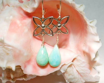 Peruvian Opal Earrings with Sterling Detail .  Robins Egg  Blue