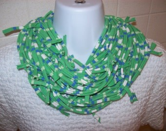 Recycled T Shirt Scarf Knotted Ragged