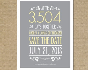 "DIY Printable or Printed ""Counting the Days"" Save the Date Mailer Postcard"