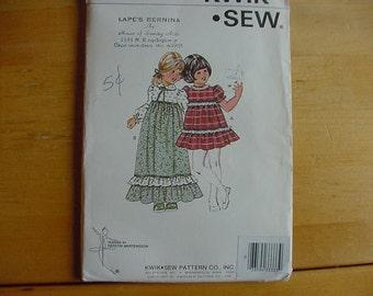 1970's Kwik Sew Pattern 959, Girls High Waisted Dress, Size 5-6-7,  Uncut