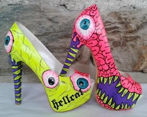 Monster Heels - Hand Painted High Heels - Hand Painted Shoes- Custom Shoes-Neon Color (Free Shipment)