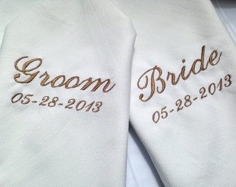 Personalized Wedding Napkins for Bride and Groom set