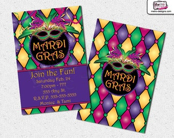Mardi Gras Invitations, Mardi Gras Invitation, Mardi Gras Invite, Mardi Gras Party, Mardi Gras Invites, Invitations, Invitation