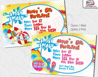 Pool Party Invitations, Pool Party Birthday Invitations, Beach Invitation, Beach Party Invitations, Birthday Invitation, Invitation, Invite
