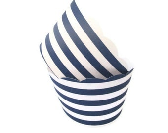 Set of 12 Navy Striped Cupcake Wrappers - Nautical Themed, Summer Parties, Clambake, Bridal Showers, Striped Cupcake Wrappers