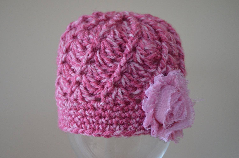 Crocheted Spiral Beanie Pink Shabby Flower Photo Prop Girls
