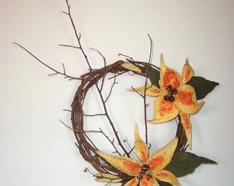 Rustic Yellow Daylily Grapevine Wreath