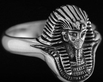 Sterling Silver EGYPTIAN PHARAOH RING sizes - 5.5-10 King Tut, Eqyptian Jewelry, King Tut Ring, Pharaoh jewelry