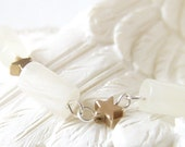 Cherish  - Ivory beads with gold stars on sterling silver chain