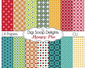 Honey Pie Turquoise, Green, Orange & Red Digital Papers for Digital Scrapbooking, Card Making, Photographers, Instant Download