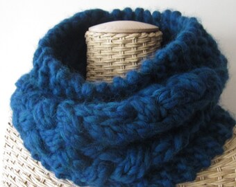 Hand Knit  Cozy Cable Super Chunky Cowl - Teal Blue Cowl - Wool Cowl - Warm Neck Warmer - Soft Fashion Accessory
