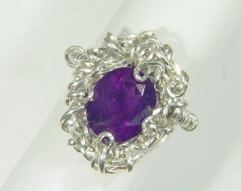Sterling Silver Wire Wrapped Faceted  Amethyst Ring (Size 7) 4285D TLE