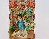 Antique Valentine 3D Stand Up Card Girl Dog Germany