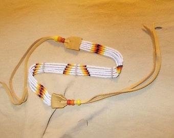 "Native American Inspired Design Jewelry - Sioux Tribal Pattern - Beaded Choker ""Wiiyaye"""