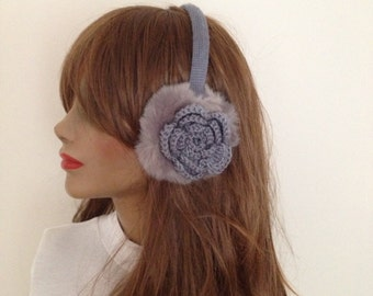 FREE SiPPiNG Grey Earmuff,Plush with crochet flower, Winter fur headphones,valentine's day,on sale
