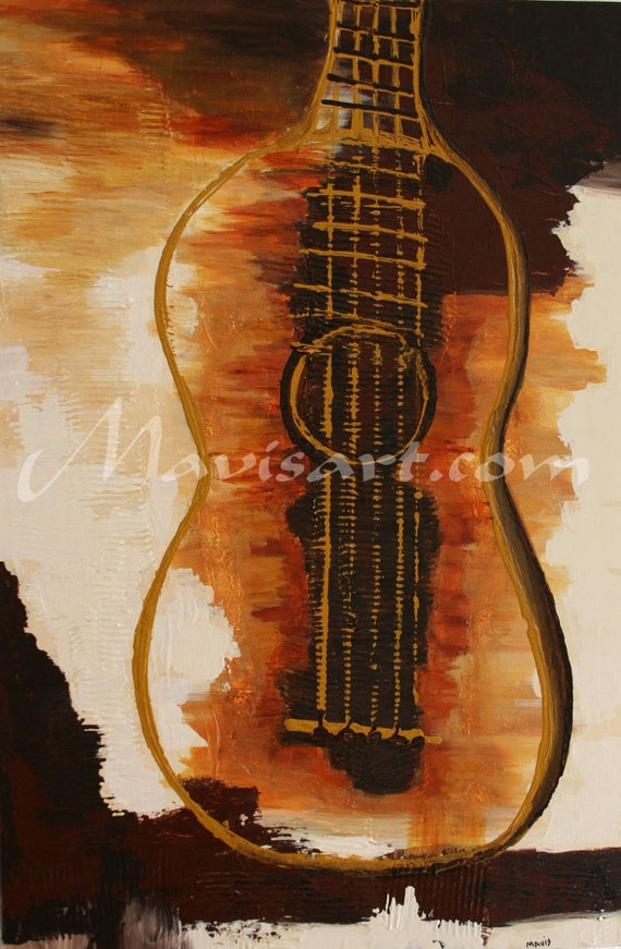 "Title ""Guitarra que arde"" Orange and brown abstract guitar  24in x 36in x 1.5in"