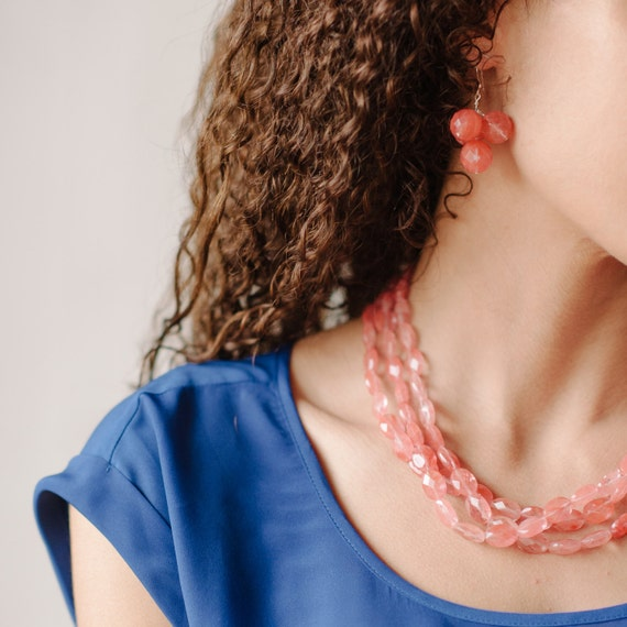 Poppy Pink Necklace by Kluster. As seen on HGTV Blog. Cherry Quartz Necklace. Pink Necklace. Coral Wedding. Sterling Silver.