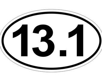 """13.1 Half Marathon Runner Oval Decal / Bumper Sticker / Window Label 3"""" x 5"""""""