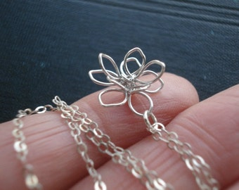 Lotus Necklace Wire Flower Necklace Flower Necklace Sterling Silver Chain Flower Jewelry