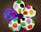 Polka Dot 5 Petal Flower Hairclip....Baby Hairbow...Toddler/Girls Hairbow...Monogram Hairbows