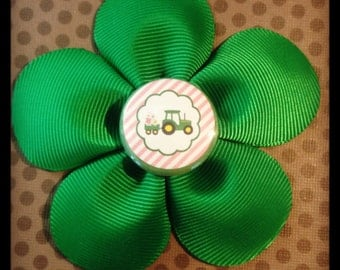 Green and Pink...Tractor...John Deere Inspired 5 Petal Flower Hairclip...Girls Hairbows...Baby/Infant Hairbows...John Deere Bows