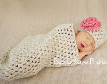 Crochet Pattern - Newborn Bunting Cocoon and Hat (with Optional Flower) - Great Photo Prop - Instant Download  PDF