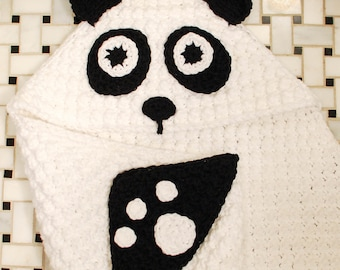 Crochet Pattern - Panda Hooded Baby Towel with Attached Mitts (also makes a great blanket) - Immediate PDF Download