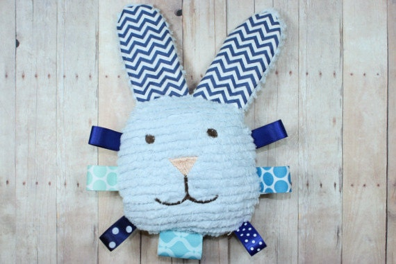 Blue Chevron Baby Bunny Teether Toy, Baby Easter Basket Rattle, Tag Toy, Plush Bunny Baby Toy and Nursery Decor by JuteBaby