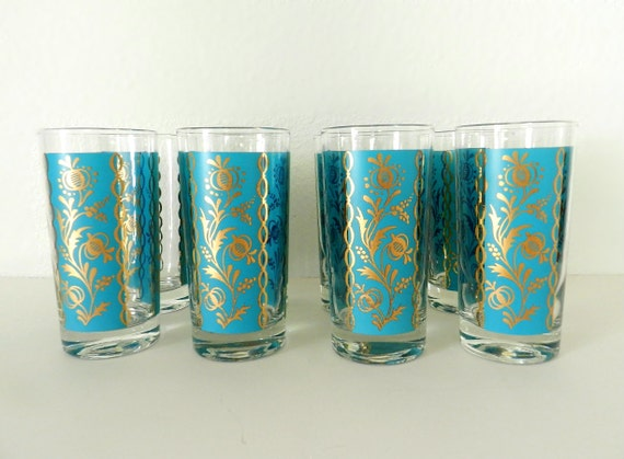 50's TURQUOISE GOLD GLASSWARE - Set of 8 Glasses / Highboy Tumblers / Mid Century / Mad Men / Floral Motif