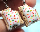 Strawberry Pop-tart earrings- Cute, food jewelry
