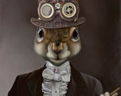 Package of three greeting cards and envelopes: Sophisticated Squirrel Steam Punk. Pop Surrealism. Animal Art