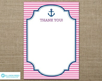 Nautical Birthday - Nautical Printable - Nautical Thank You Note - Anchor - Nautical Baby Shower - Pink Birthday - First Birthday