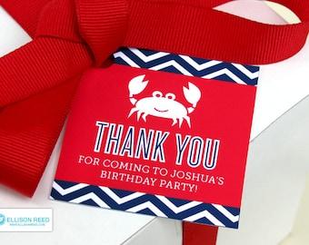 Crab Favor Tags - Crab Birthday - Chevron - Crab Printable - Nautical Birthday - Beach Birthday - Printable Party - First Birthday