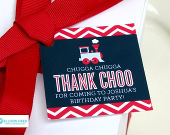 Train Favor Tags - Train Birthday - Chevron - Train Printable - Boy Birthday - Chevron Birthday - Printable Party - First Birthday