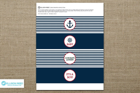 Nautical Baby Shower Printable - Nautical Printable - Drink Wrap -  Anchor - Decorations - Printable Party - Twins - Sprinkle - Boy - Girl