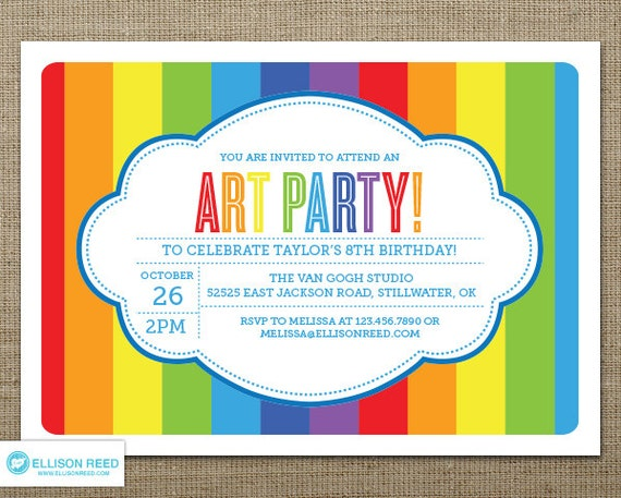 art party invitation art printable art birthday paint, Party invitations