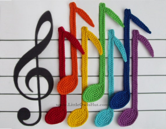 Free Crochet Patterns For Music Notes : 023 Notes Bookmark Amigurumi crochet pattern by LittleOwlsHut