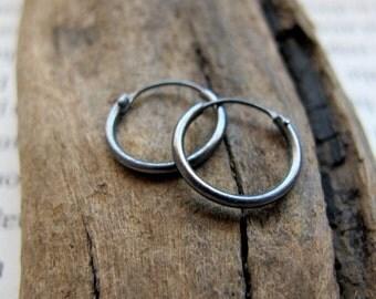 Small Dark Silver Hoop Earrings for Men, mens earrings, Unisex Black Hoops, Sterling Silver Huggie Earrings 10mm, 12mm, 15mm - Elegant