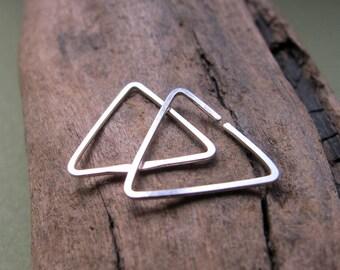 Small Triangle Hoop Earrings - Sterling Silver Cartilage, Tragus, Helix earrings - Male Earrings - Triangle Earrings - Minimalist Earrings