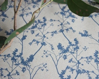 Leafy Wrapping, Scrapbooking or Origami Paper 'Nero' In Blue