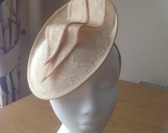 Butter Milk Cream Gold Sinamay and Lace Disc Fascinator on a hairband, races, weddings, Kentucky Derby, Melbourne Cup