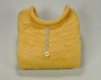 100% Merino Hand Dyed Wool Yellow Hand Knit Baby Pullover Sweater with Mohair Stitching and Vintage Buttons or Plain