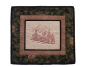 Toile Embroidered Cozy Winter Log Cabin in the Snow Quilted Wall Hanging