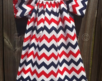 Red, White and Blue Chevron Peasant Dresss