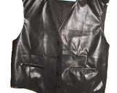 Handmade Men's Black faux leather vest