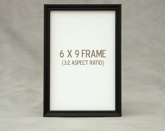 6x9, 6.5x8.5, 7x9 Picture Frame, Peruvian Walnut dark exotic wood, finely finished, attractive slim profile molding is ideal for photographs