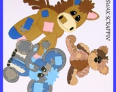 Patchwork Animals premade Scrapbook Paper Pieced baby kids, bear, elephant, horse pony family friends
