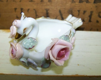 Swan Trinket Dish Swan Ashtray Porcelain Swan