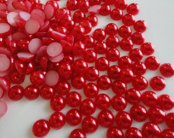 Christmas / Valentine's Day Red Flat back Glazed Pearlized Cabochons Card Making Supplies 100 pc
